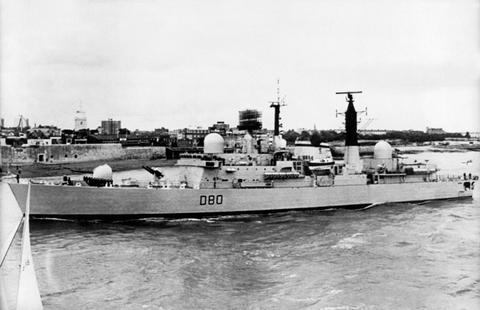 A 1980 file photo shows HMS Sheffield of the Royal Navy. The destroyer was hit and sunk by an Exocet missile fired from an Argentinian land-based Super Etendard fighter bomber 04 May 1982. (AFP Photo / Pool)