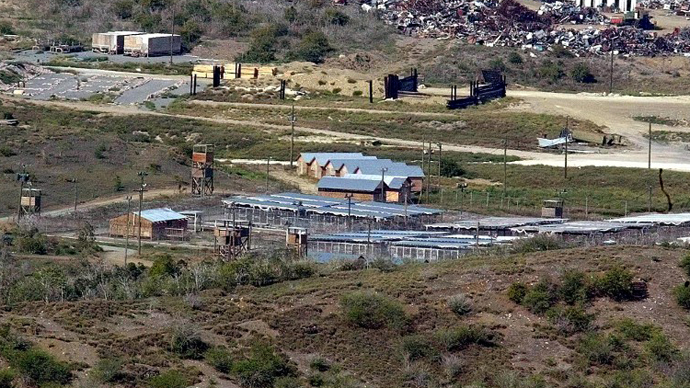 General view shows Camp X-Ray at Guant·namo Bay, Cuba. (AFP Photo / Adalberto Roque)