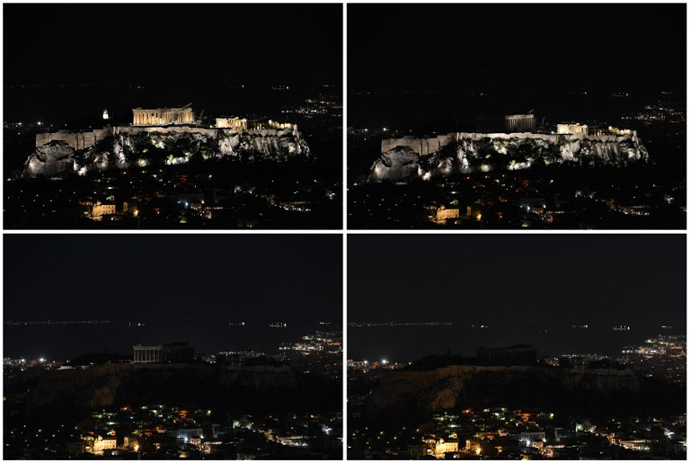A combination picture shows (from top left to right) the ancient Temple of Parthenon atop the Acropolis hill before and during the Earth Hour in Athens on March 23, 2013. (AFP Photo / Aris Messinis)