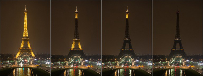Combination photo shows The Eiffel Tower submerging into darkness at 8:30 pm (local time) as part of the Earth Hour switch-off on March 23, 2013 in Paris. (AFP Photo / Bertrand Langlois)