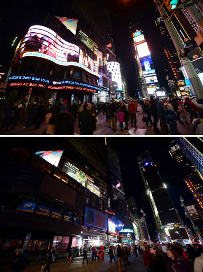"""In this combo photo large electronic billboards stand dark (bottom) on Times Square as their lights were turned off to mark """"Earth Hour"""" in New York, March 23, 2013. (AFP Photo / Emmanuel Dunand)"""