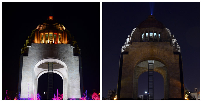 """In this combo photo shows the Monumento a la Revolucion with color lights on (L) and lights were turned off to mark """"Earth Hour"""" in Republica Square in Mexico City on March 23, 2013. (AFP Photo/Alfredo Estrella)"""