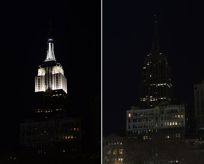 "In this combo photo The Empire State Buidling stands dark (R) as its lights were turned off to mark ""Earth Hour"" in New York, March 23, 2013. (AFP Photo/Emmanuel Dunand)"