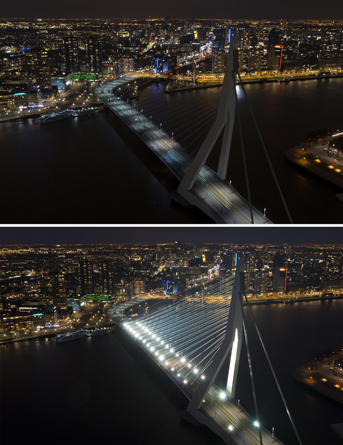 Combination photo shows the skyline of Rotterdam with the Erasmusbrug before and during the Earth Hour on March 23, 2013. (AFP Photo / Marcel Antonisse)