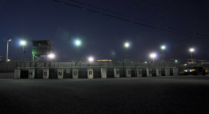 "A pre-dawn view of the US detention center ""Camp Delta"" at the US Naval Base inGuantanamo Bay, Cuba on October 18, 2012 in this photo reviewed by the US Department of Defense. (AFP Photo)"