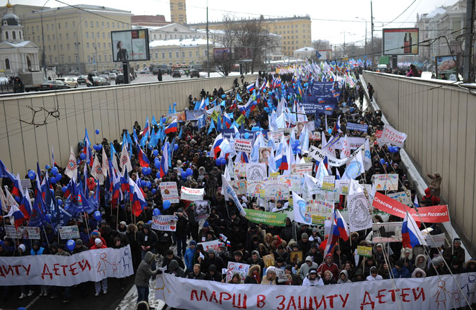 Participants in the march in defense of children on Moscow's Arbat Square.(RIA Novosti / Ramil Sitdikov)