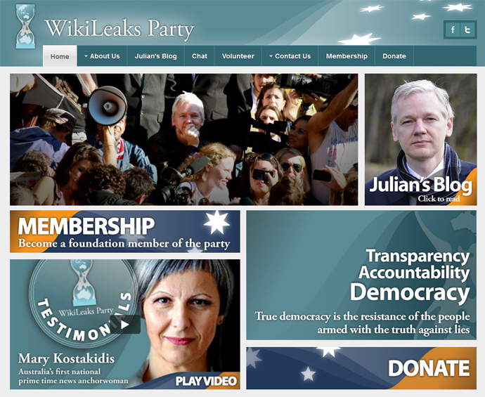 Screenshot from wikileaksparty.org.au