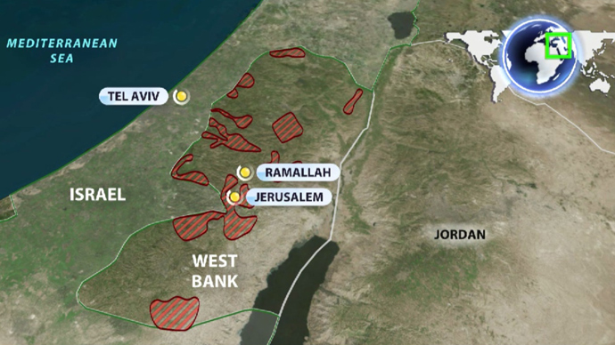 The map shows illegal Israeli settlements on the West Bank