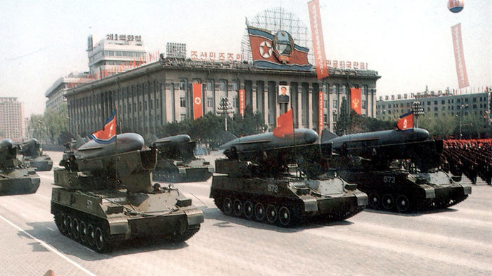 A hand out picture dated 25 April 1992 shows a North Korean military unit of missile during a military parade in Pyongyan. Japan's government said it knew North Korea had fired a missile into the Sea of Japan and was investigating, but avoided rapping Pyongyang, which has promised a missile launch moratorium.(AFP Photo)