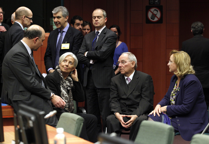 A Eurogroup meeting at the European Council building in Brussels, March 24, 2013. (Reuters / Sebastien Pirlet)