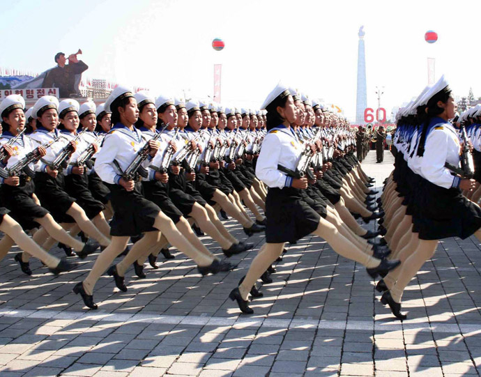 North Korean Navy female soldiers march at the Kim Il Sung square in Pyongyang for the military parade (AFP Photo/KCNA via Korean News Service)