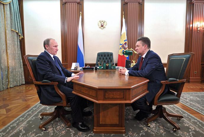 April 3, 2013. Russian President Vladimir Putin, left, meets with Gazprom CEO Alexey Miller. (RIA Novosti/Aleksey Nikolskyi)