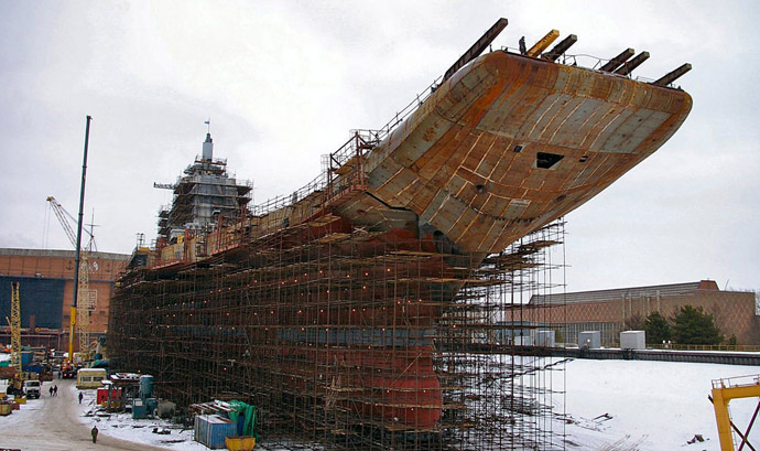 One of Sberbank's funding projects is upgrading the former Soviet aircraft carrier Admiral Gorshkov (Image from 1.bp.blogspot.com)