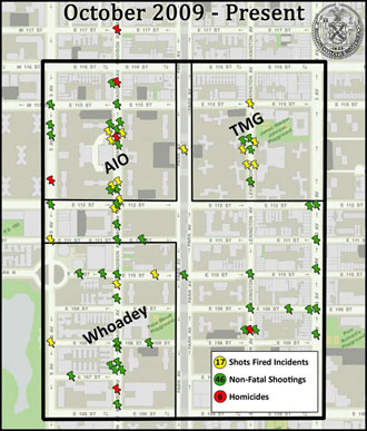 NYPD graphic showing gang activity in Manhattan's East Harlem section
