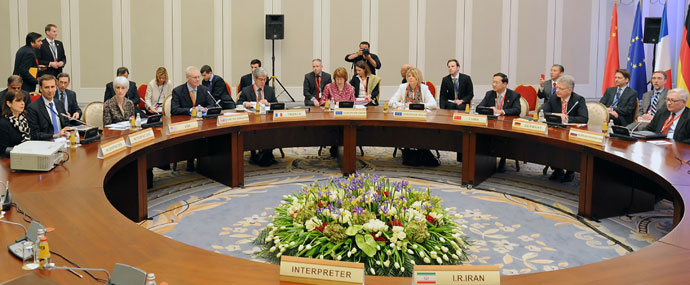 EU foreign policy chief Catherine Ashton (C) takes part the talks on Iran's nuclear programme in the Kazakh city of Almaty on April 5, 2013.(AFP Photo / Ilyas Omarov)
