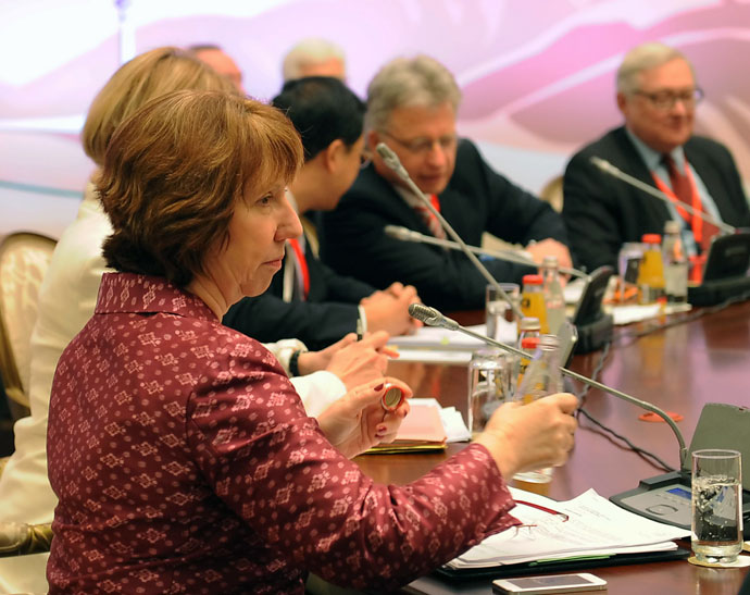EU foreign policy chief Catherine Ashton takes part the talks on Iran's nuclear programme in the Kazakh city of Almaty on April 5, 2013.(AFP Photo / Ilyas Omarov)
