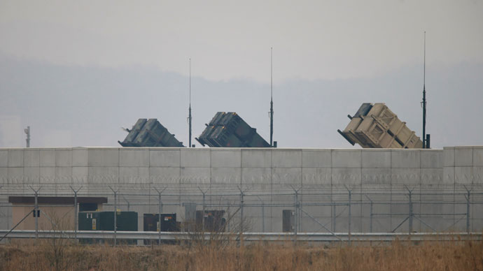 U.S. Army Patriot missile air defence artillery batteries are seen at U.S. Osan air base in Osan, south of Seoul April 5, 2013.(Reuters / Lee Jae-Won)