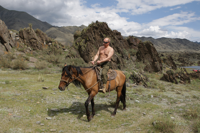 Vladimir Putin on a vacation in the Republic of Tyva (RIA Novosti / Alexsey Druginyn)