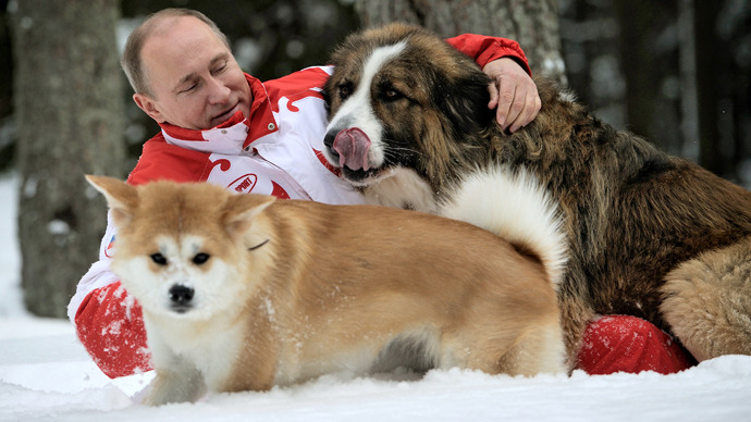 Dog day as Putin plays with pets in the snow (PHOTOS)