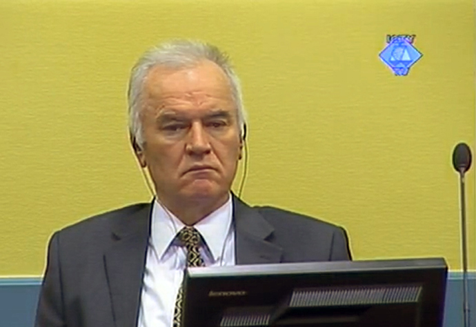 Former Bosnian Serb army chief Ratko Mladic sitting in the courtroom on May 16, 2012 in The Hague (AFP Photo / Courtesy of the ICTY)