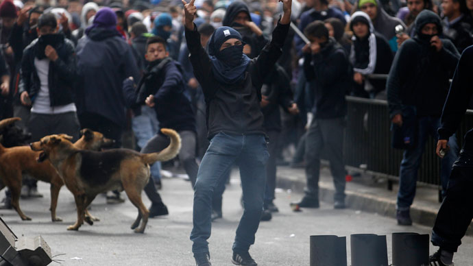 A student protester gestures to riot police officers during a rally in which demonstrators demanded that the government make changes to the public state education system, in Santiago April 11, 2013.(Reuters / Ivan Alvarado)