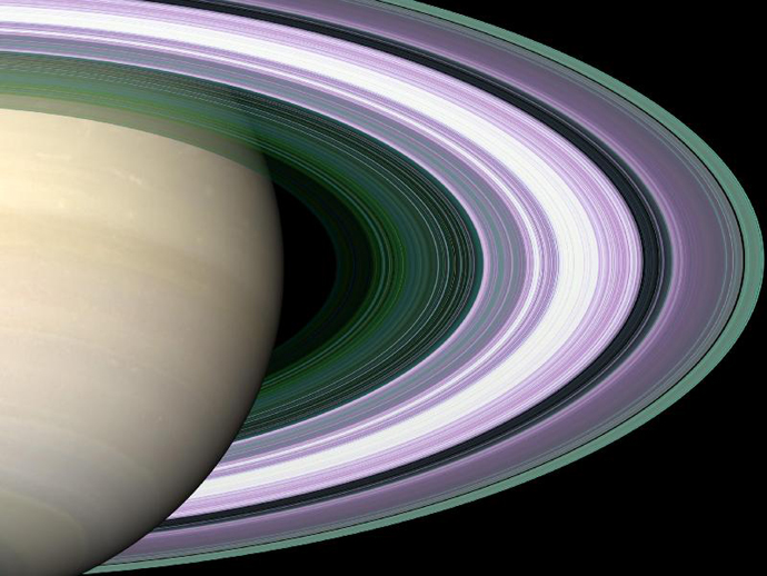 In this simulated image of Saturn's rings, color is used to present information about ring particle sizes in different regions based on the measured effects of three radio signals. (Image Credit: NASA/JPL)