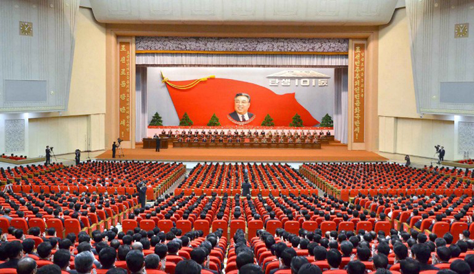 This picture taken by North Korea's official Korean Central News Agency on April 14, 2013 shows a national meeting to celebrate the 101st anniversary of late leader Kim Il-Sung's at the April 25 Culture Hall in Pyongyang. (AFP Photo / KCNA)