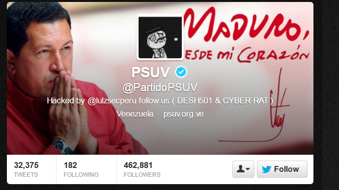 Maduro's Twitter account, official sites hacked by LulzSec