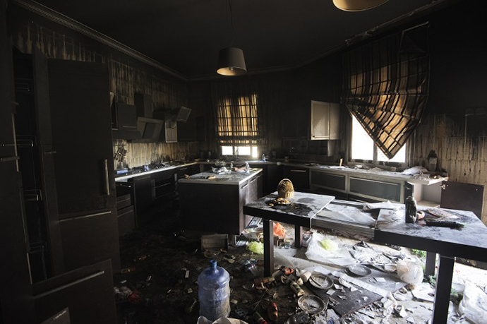 A picture shows damage inside the burnt US consulate building in Benghazi on September 13, 2012, following an attack on the building late on September 11 in which the US ambassador to Libya and three other US nationals were killed. (AFP Photo / Gianluigi Guercia)