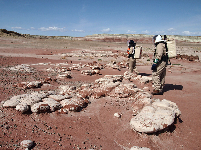 The MDRS crew exploring the Mars-like surface of a Utah desert. (Image from Flickr user MDRS.Photos)