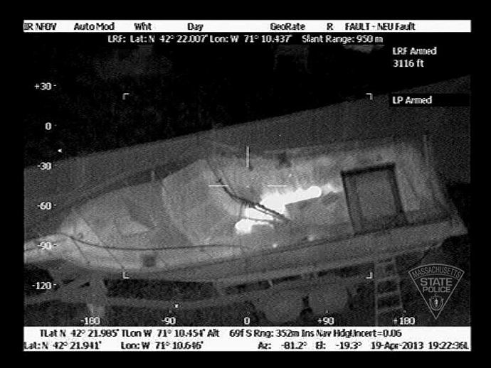 A photo taken from State Police Air Wing on Watertown manhunt (Photo: twitter user @MassStatePolice)
