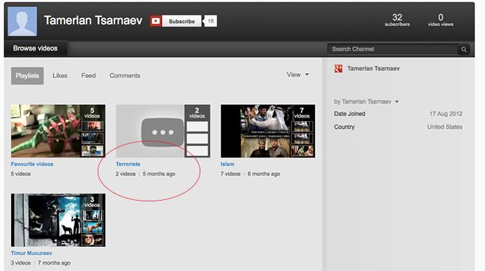 A screenshot from Tamerlan Tsarnaev's youtube.com account.