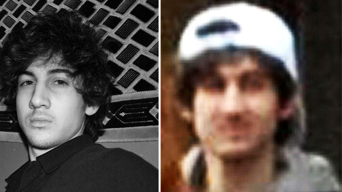 An FBI-released photo of the Boston bombing suspect (right) and a photo of Dzhokhar Tsarnaev from his VKontakte page (left).