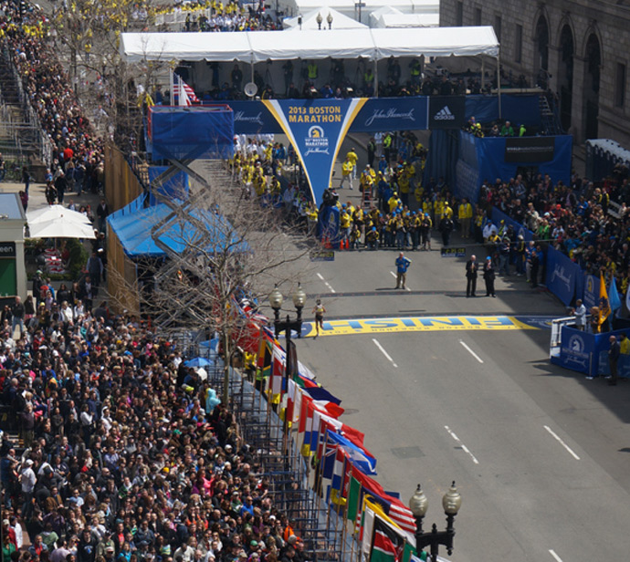 Photo taken by Aaron Tang 30 minutes before the Boston Marathon explosions from an office about half a block from the finish line. (Image from www.flickr.com/photos/hahatango/)