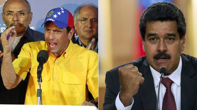Venezuela's opposition leader Henrique Capriles, enezuelan President Nicolas Maduro.(Reuters / Marco Bello , AFP Photo / Raul Arboleda)