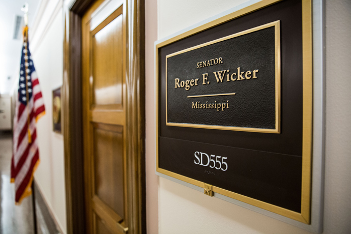 The entrance to the office of U.S. Senator Roger Wicker's (R-MS) is shown in the Dirksen Senate Office Building on Capitol Hill April 16, 2013 in Washington DC (AFP Photo / Drew Angerer)