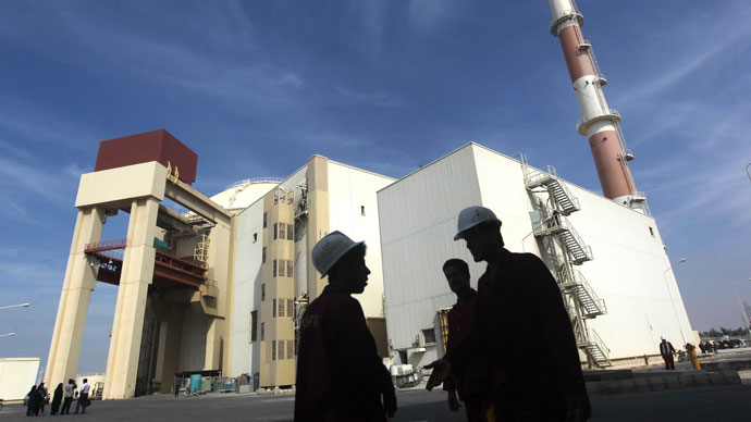 The reactor building at the Russian-built Bushehr nuclear power plant in southern Iran, 1200 Kms south of Tehran, where Iran has began unloading fuel into the reactor core for the nuclear power plant.(AFP Photo / Majid Asgaripour)