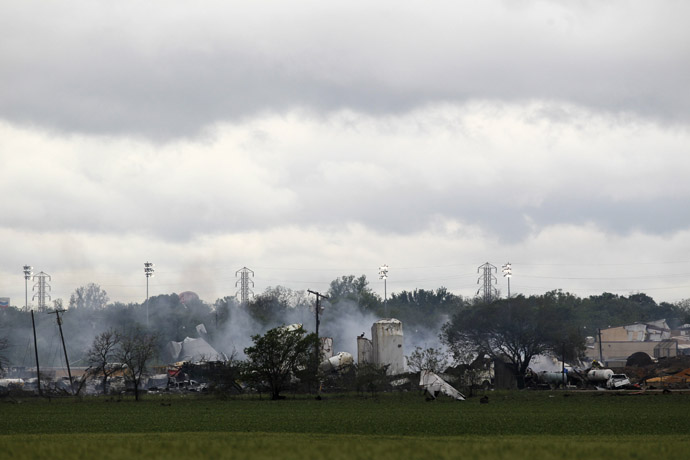 The remains of a fertilizer plant smolder after a massive explosion in the town of West, near Waco, Texas early April 18, 2013. (Reuters)