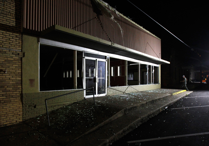 A building shows the damage after a massive explosion at a fertilizer plant in the town of West, near Waco, Texas early April 18, 2013 (Reuters / Mike Stone)