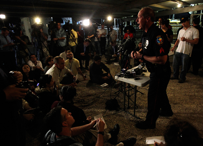 Waco Police spokesperson William Swanton speaks at a media conference regarding an explosion at a fertilizer plant in the town of West, near Waco, Texas early April 18, 2013 (Reuters / Mike Stone)