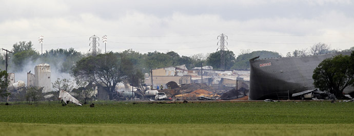 The remains of a fertilizer plant smolder after a massive explosion in the town of West, near Waco, Texas April 18, 2013. (Reuters/Mike Stone)