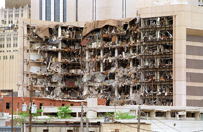 The north side of the Albert P. Murrah Federal Building in Oklahoma City shows 19 April 1995 the devastation caused by a fuel-and fertilizer truck bomb that was detonated early 19 April in front of the building (AFP Photo / Bob Daemmrich)