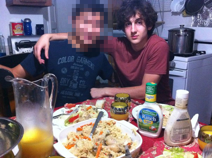 Dzhokhar Tsarnaev with a friend. The photo was uploaded early on Friday. Image from vk.com