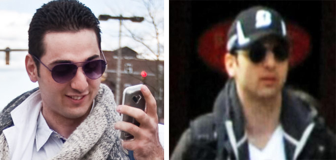 A photo of Tamerlan Tsarnaev (by Johannes Hurnes / Barcroft Media, left) and an FBI-released photo of the Boston bombing suspect (right).
