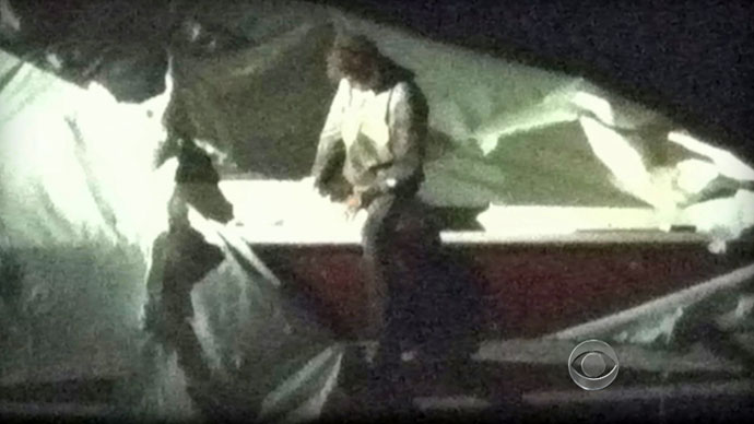 This image obtained April 19, 2013 courtesy CBS News shows Dzhokhar Tsarnaev, a suspect in the Boston Marathon bombing who was captured Friday night, April 19, 2013.(AFP Photo / CBS News)