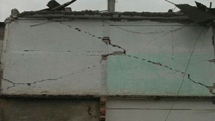 A view of cracks on a wall after a 6.6 magnitude earthquake hit southwestern China's Sichuan province is seen in this April 20, 2013.(Reuters / China Central Television)