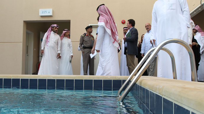 "Local and international media representatives are given a tour of a new centre for the rehabilitation of suspected ""terrorists"" and potential al-Qaeda recruits in Riyadh.(AFP Photo / STR)"