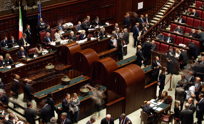 An overhead view during the second day of the presidential election in the lower house of the parliament in Rome April 19, 2013.(Reuters / Max Rossi)