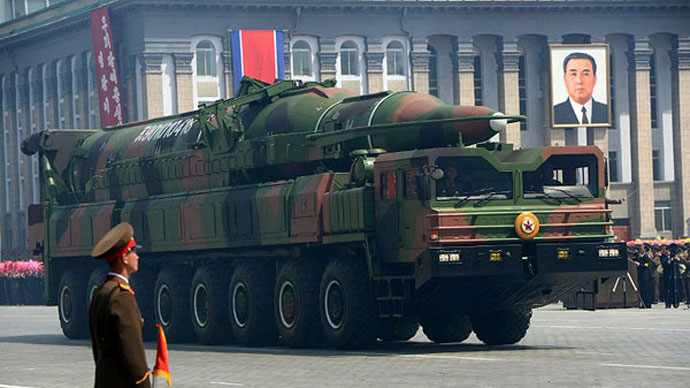 A North Korean missile Taepodong class is displayed during a military parade on April 15, 2012. (AFP Photo / Pedro Ugarte)