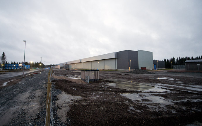 Picture taken on November 18, 2012 shows the construction site of the new Facebook Data Center and firm's first outside the US in the city of Lulea, in Swedish Lapland. (AFP Photo)